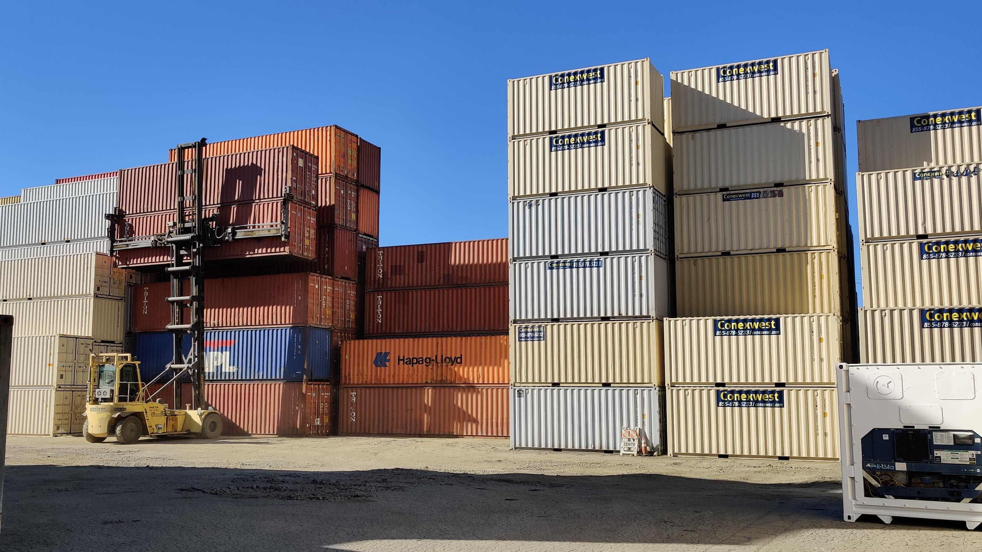 Shipping container depot with forklift