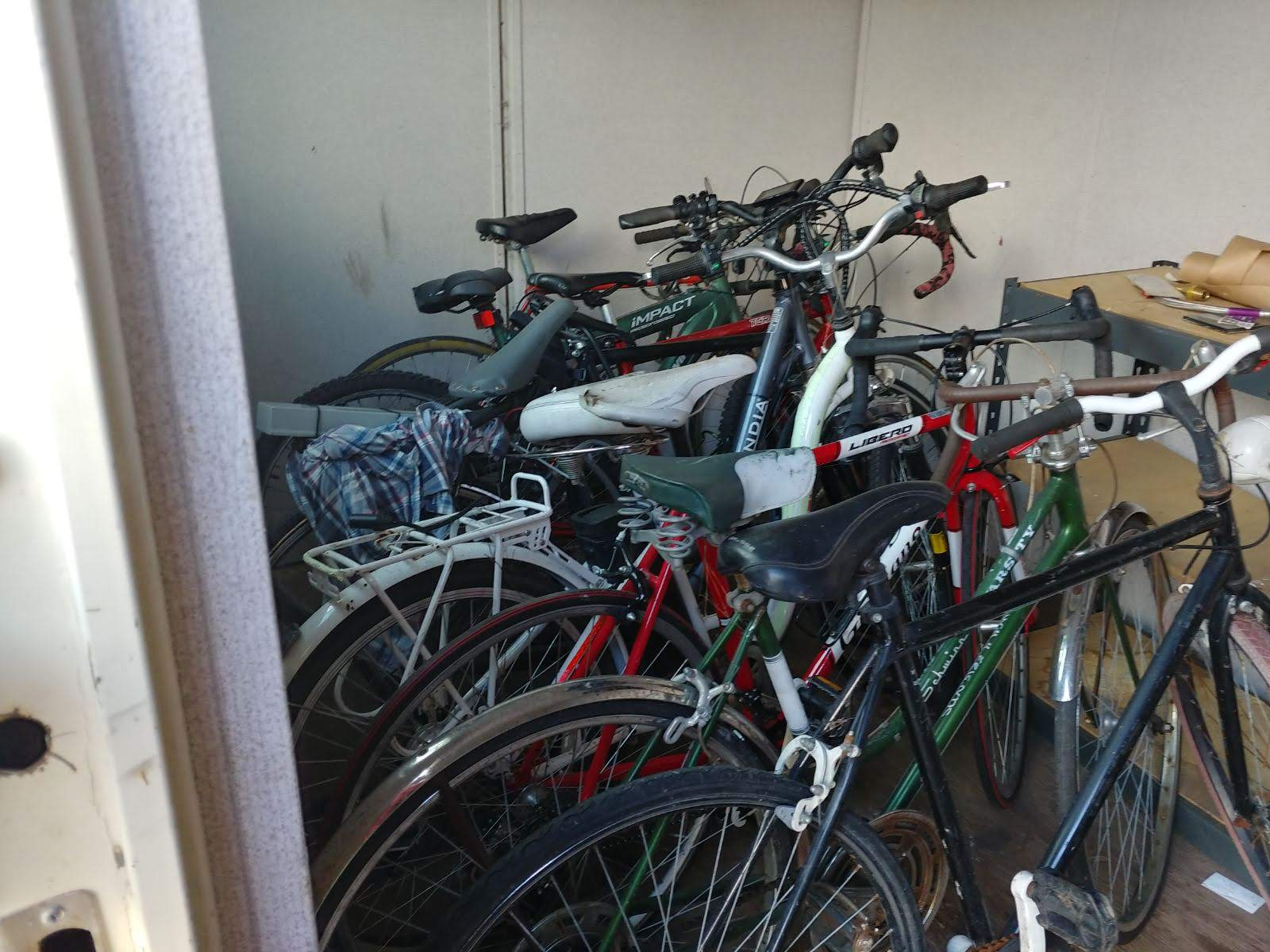 bicycles in shipping container