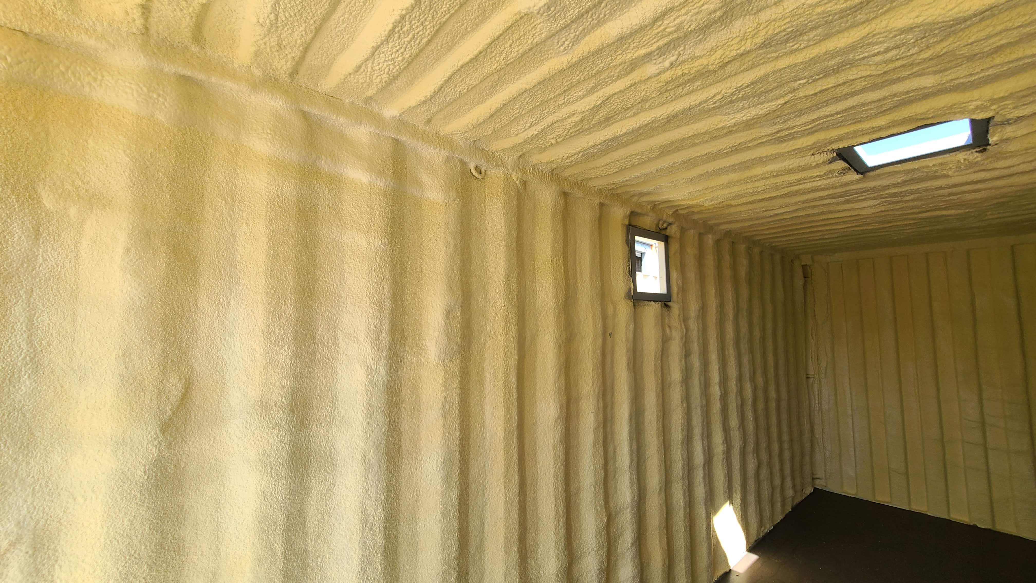 foam insulation in shipping storage container