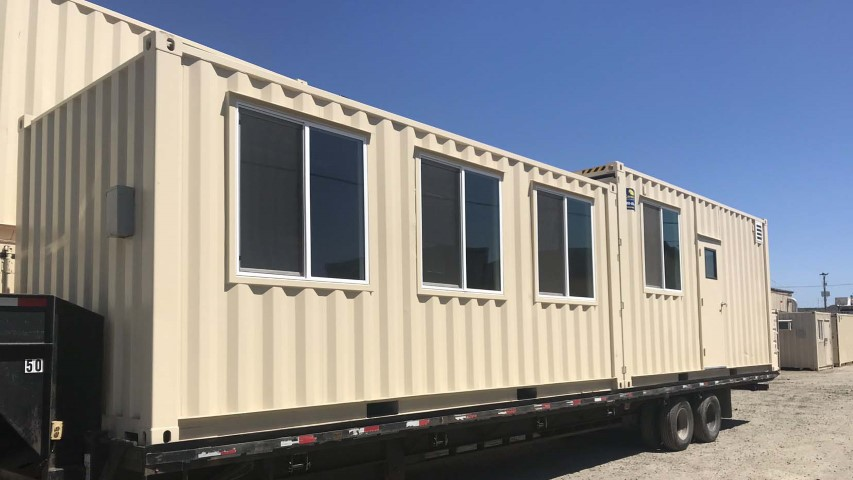 Extra large jobsite office container with HVAC.