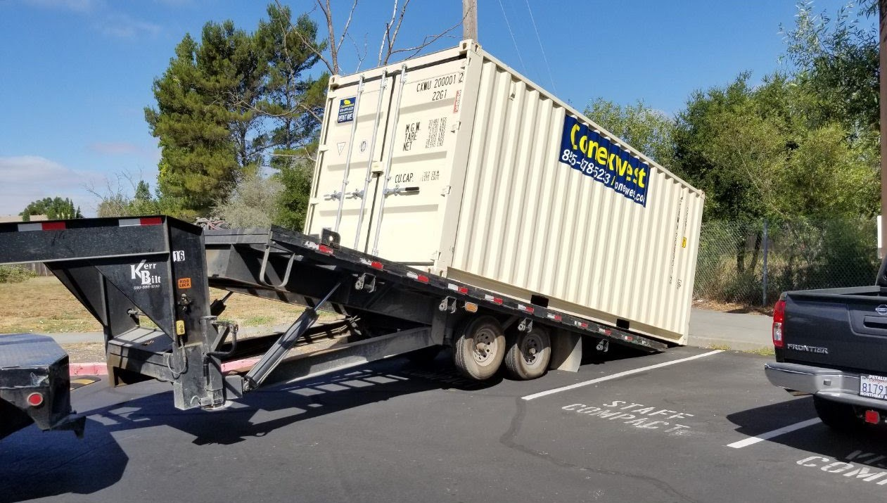tilt bed ground container delivery slide off trailer