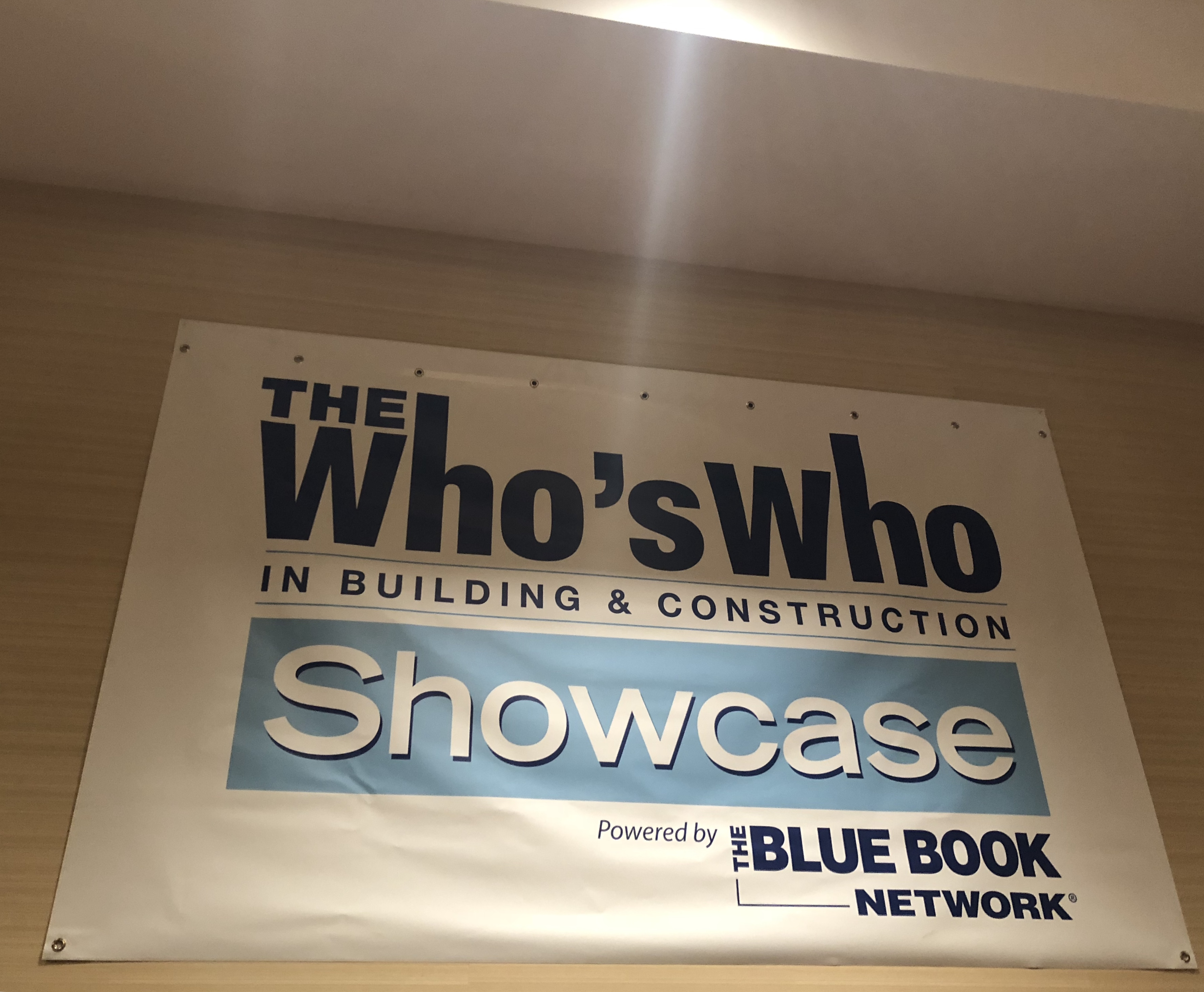 a banner of the whos who in building and construction show case during the networking event