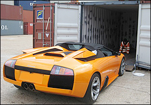 collectable car in shipping container