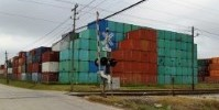 Houston Texas depot from conexwest with shipping containers stacked on top of each other